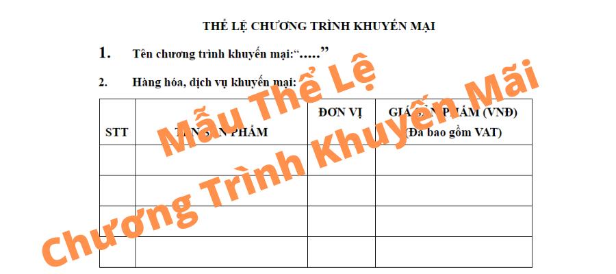 mau the le chuong trinh khuyen mai